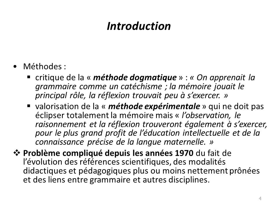 Introduction Méthodes :