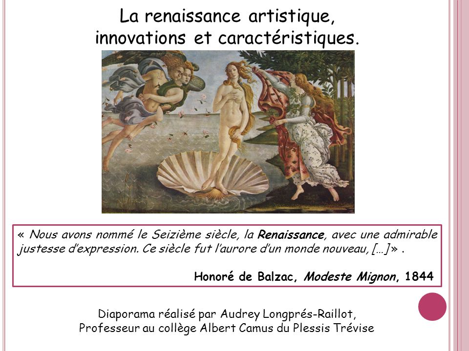 La renaissance artistique, innovations et caractéristiques.