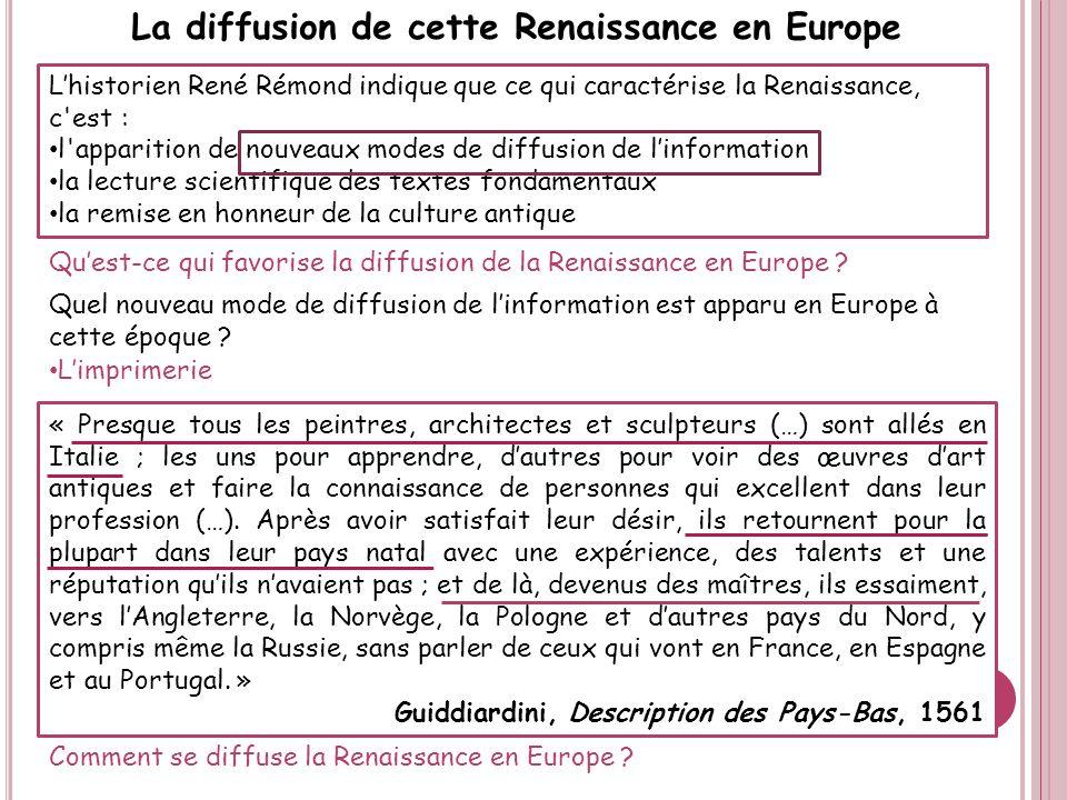 La diffusion de cette Renaissance en Europe