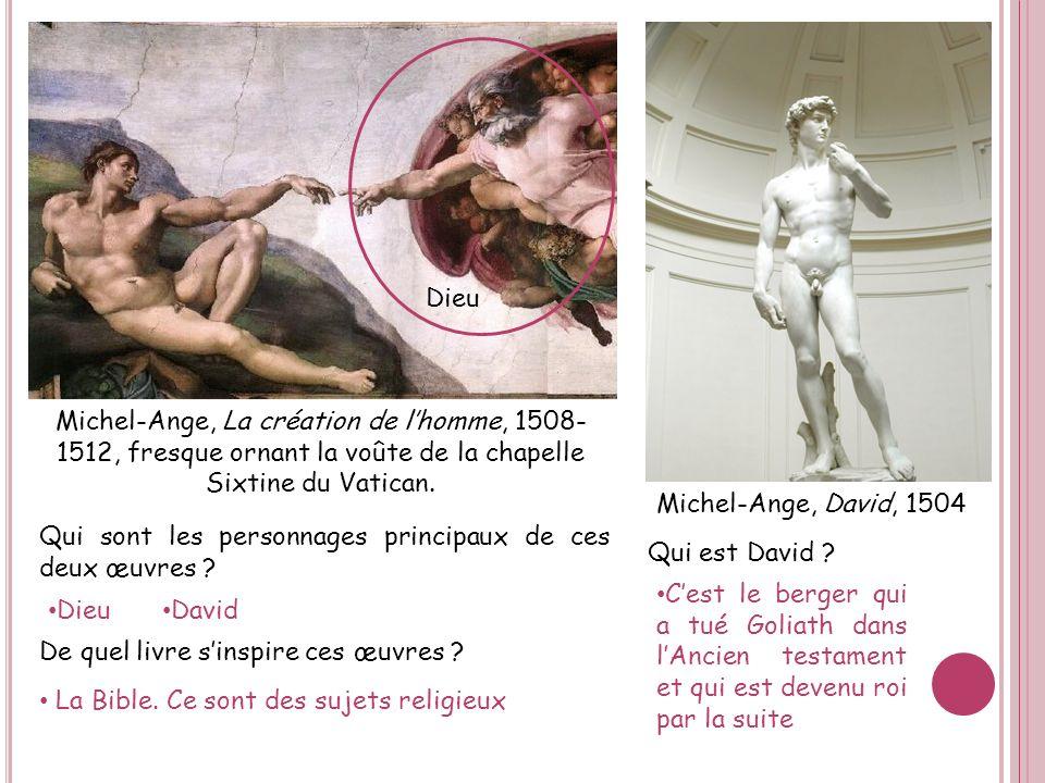 Dieu Michel-Ange, La création de l'homme, 1508-1512, fresque ornant la voûte de la chapelle Sixtine du Vatican.