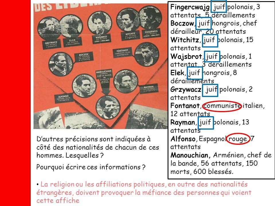 Fingercwajg, juif polonais, 3 attentats, 5 déraillements