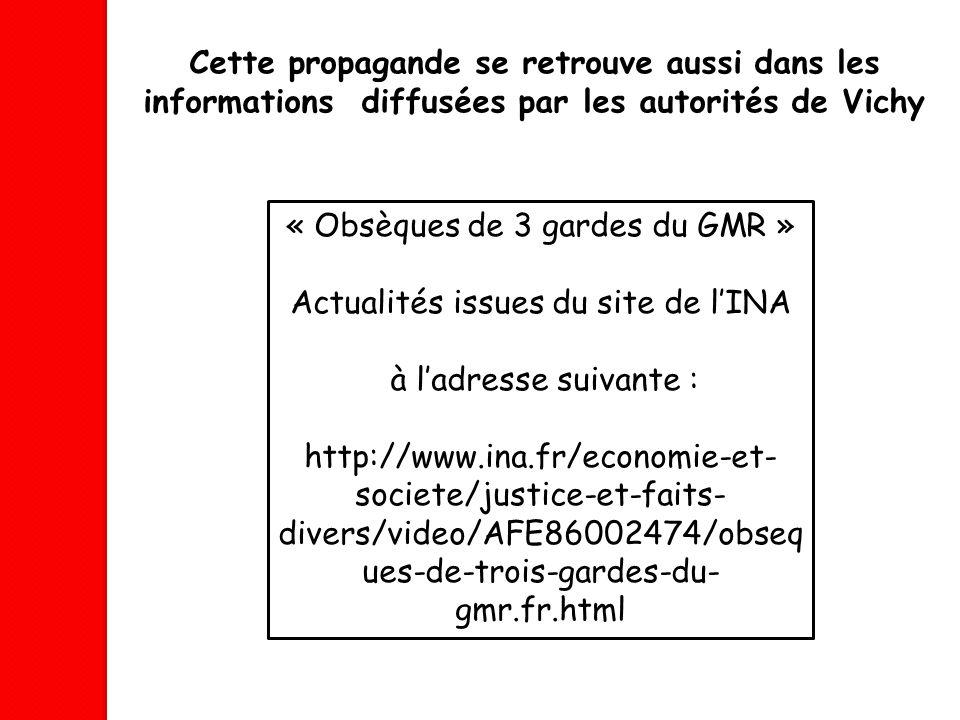 « Obsèques de 3 gardes du GMR » Actualités issues du site de l'INA