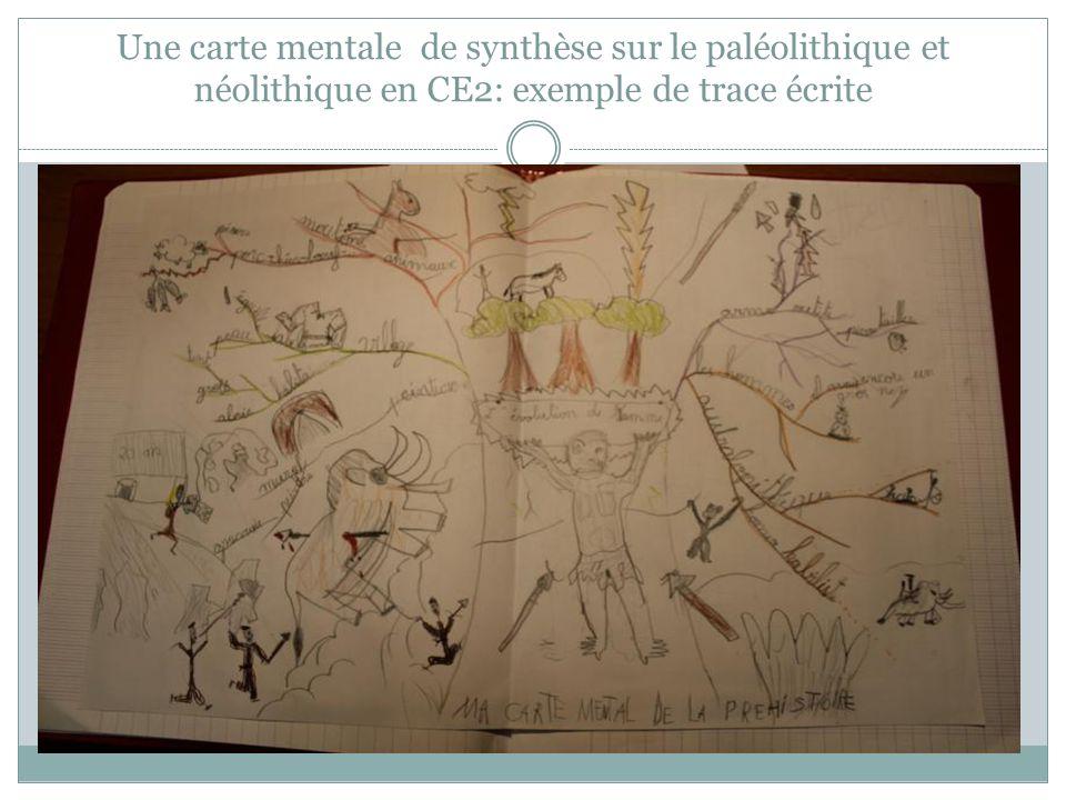 Une carte mentale de synthèse sur le paléolithique et néolithique en CE2: exemple de trace écrite