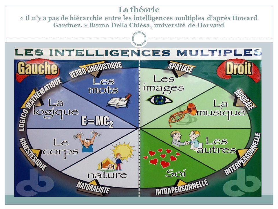 La théorie « Il n'y a pas de hiérarchie entre les intelligences multiples d'après Howard Gardner. » Bruno Della Chiésa, université de Harvard