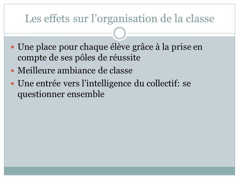 Les effets sur l'organisation de la classe