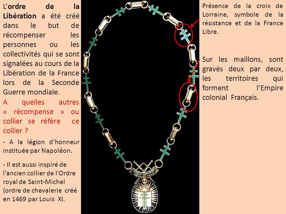 A quelles autres « récompense » ou collier se réfère ce collier