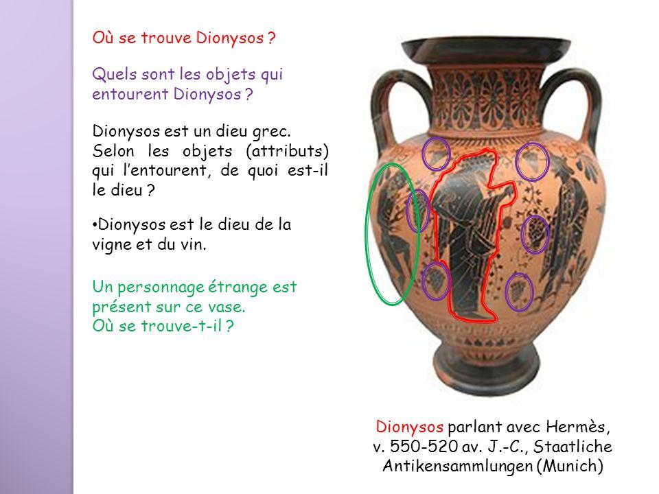 Quels sont les objets qui entourent Dionysos