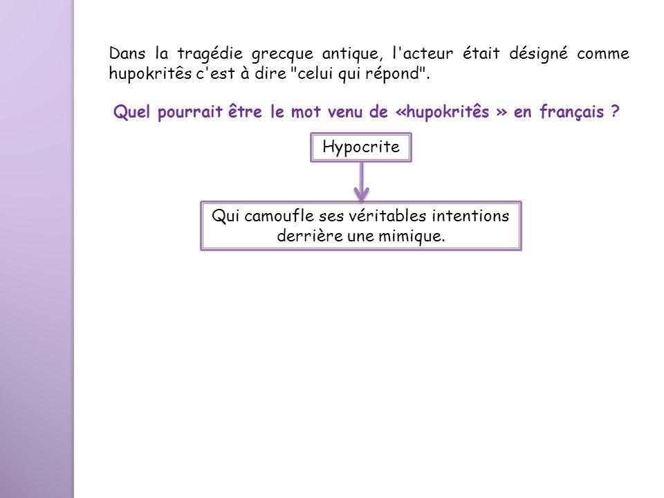Quel pourrait être le mot venu de «hupokritês » en français