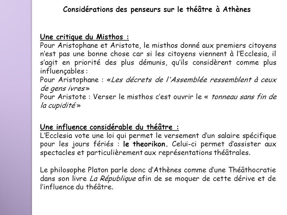 Considérations des penseurs sur le théâtre à Athènes