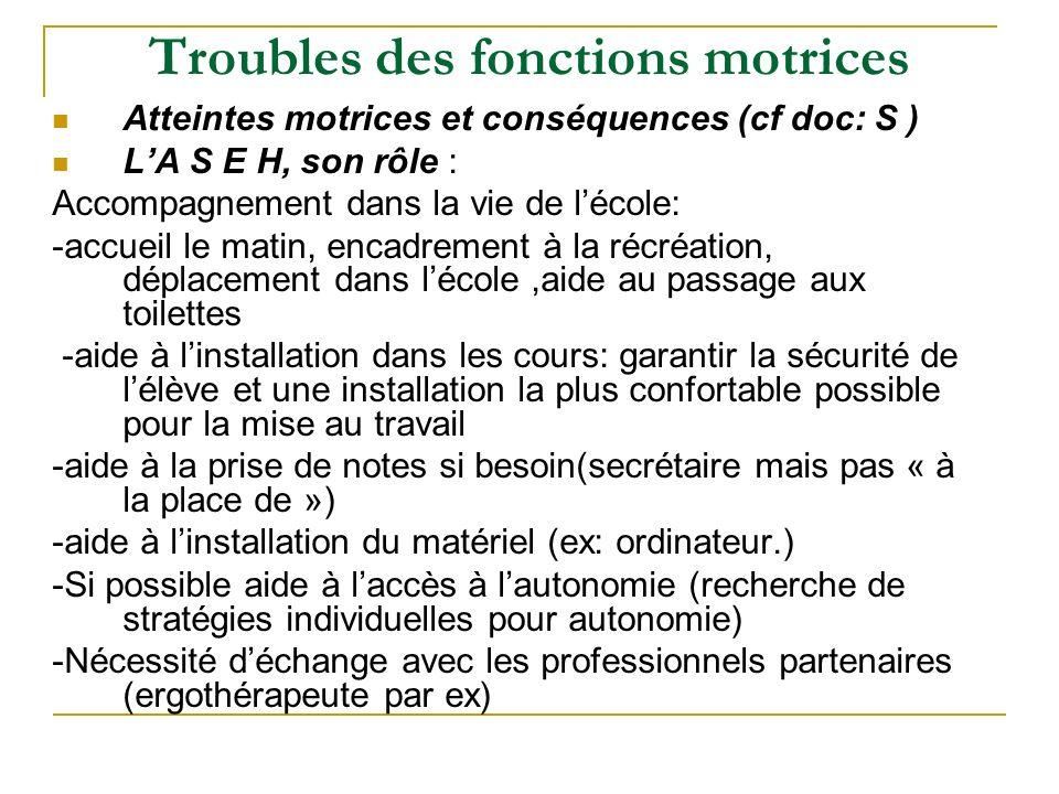 Troubles des fonctions motrices