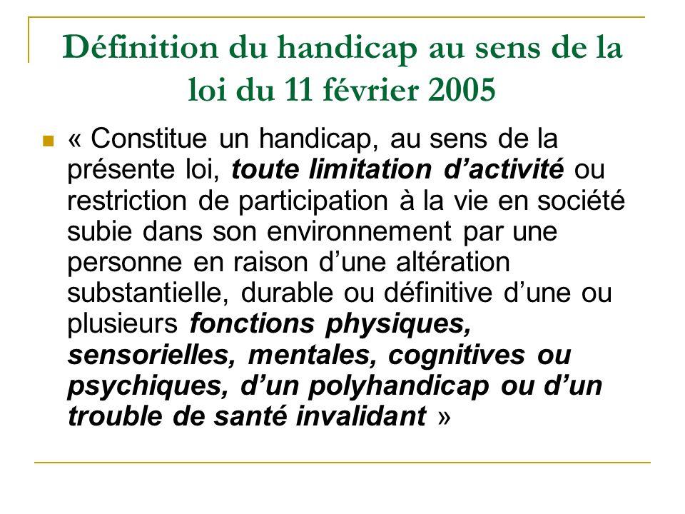 Définition du handicap au sens de la loi du 11 février 2005