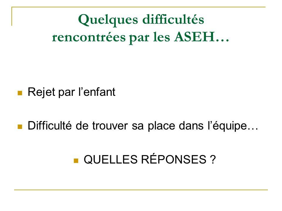 Quelques difficultés rencontrées par les ASEH…