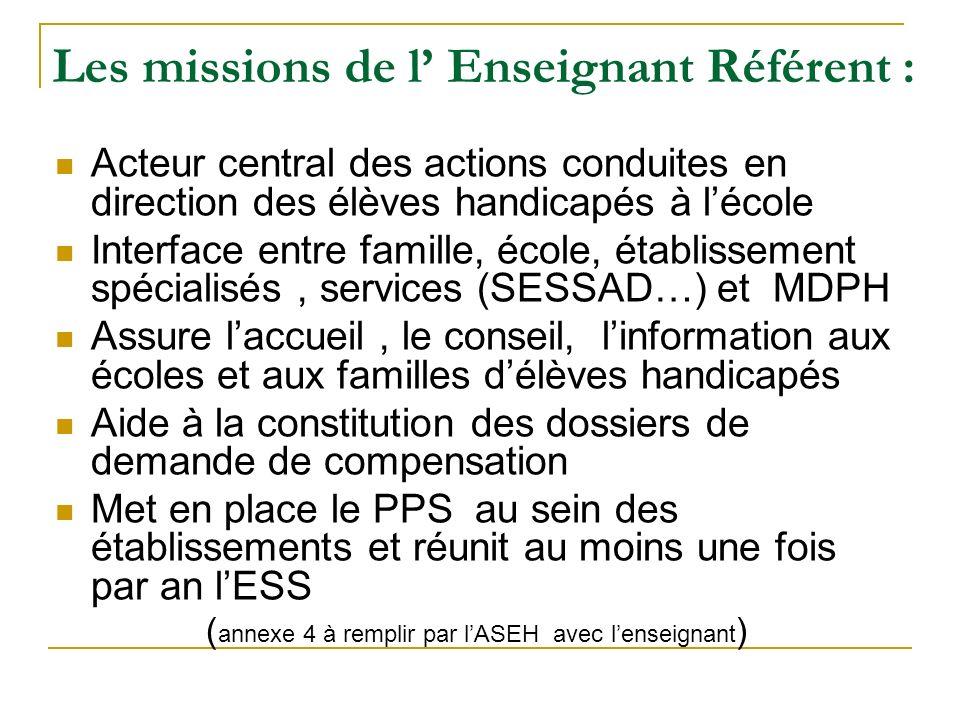 Les missions de l' Enseignant Référent :