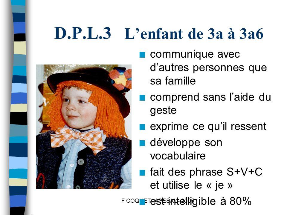 D.P.L.3 L'enfant de 3a à 3a6 communique avec d'autres personnes que sa famille. comprend sans l'aide du geste.