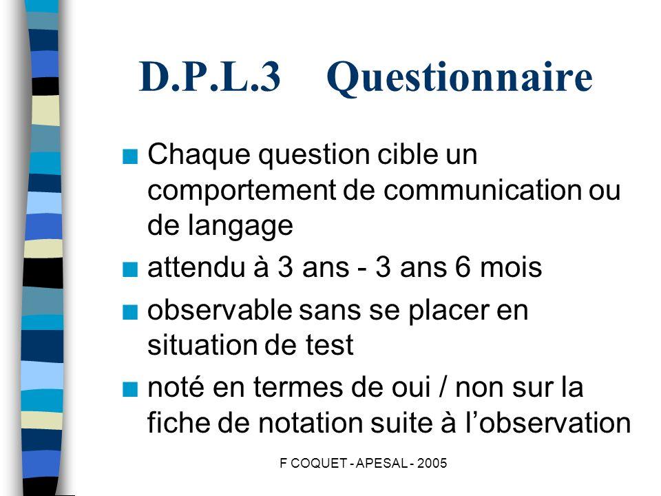D.P.L.3 Questionnaire Chaque question cible un comportement de communication ou de langage. attendu à 3 ans - 3 ans 6 mois.