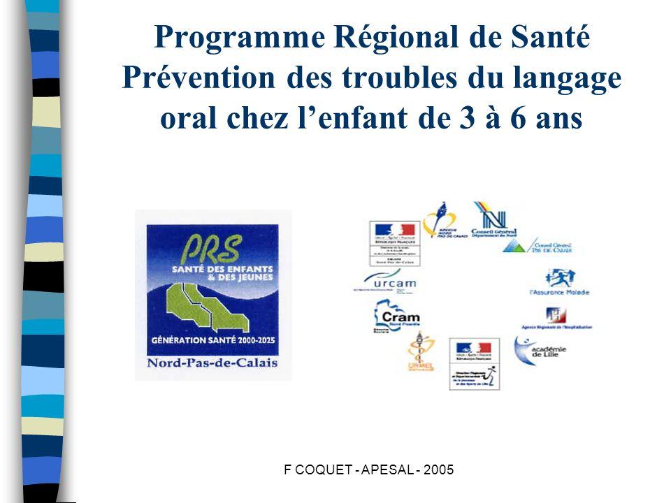 Programme Régional de Santé Prévention des troubles du langage oral chez l'enfant de 3 à 6 ans