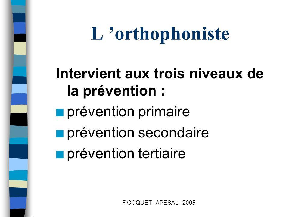 L 'orthophoniste Intervient aux trois niveaux de la prévention :