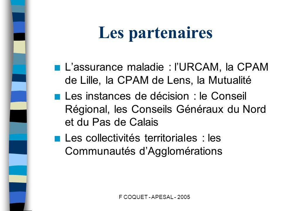 Les partenaires L'assurance maladie : l'URCAM, la CPAM de Lille, la CPAM de Lens, la Mutualité.