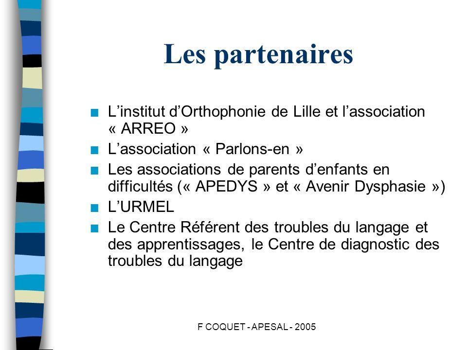 Les partenaires L'institut d'Orthophonie de Lille et l'association « ARREO » L'association « Parlons-en »