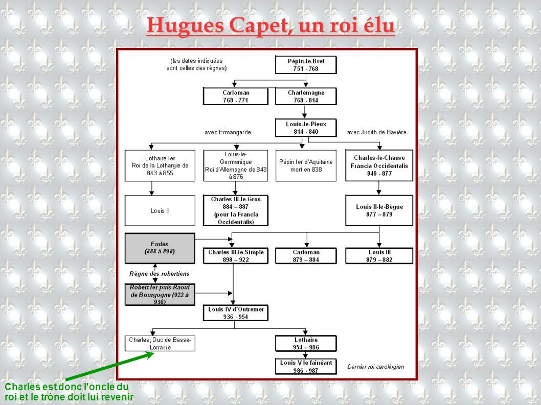 Hugues Capet, un roi élu Charles est donc l oncle du