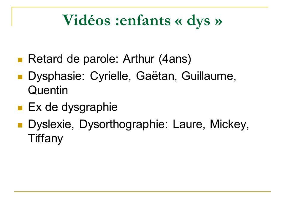 Vidéos :enfants « dys » Retard de parole: Arthur (4ans)