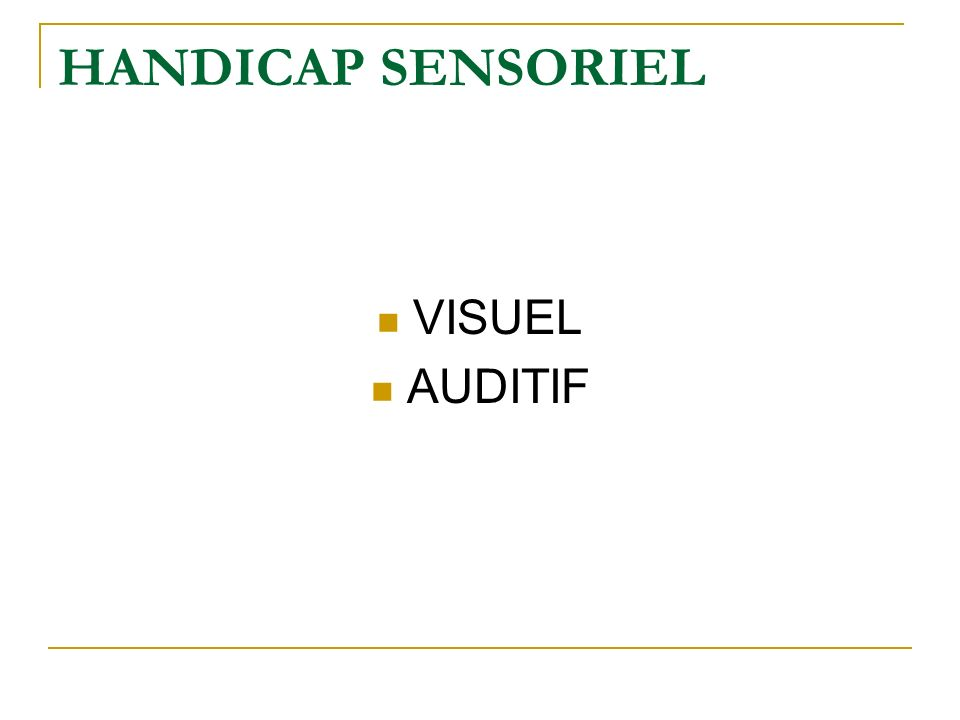 HANDICAP SENSORIEL VISUEL AUDITIF
