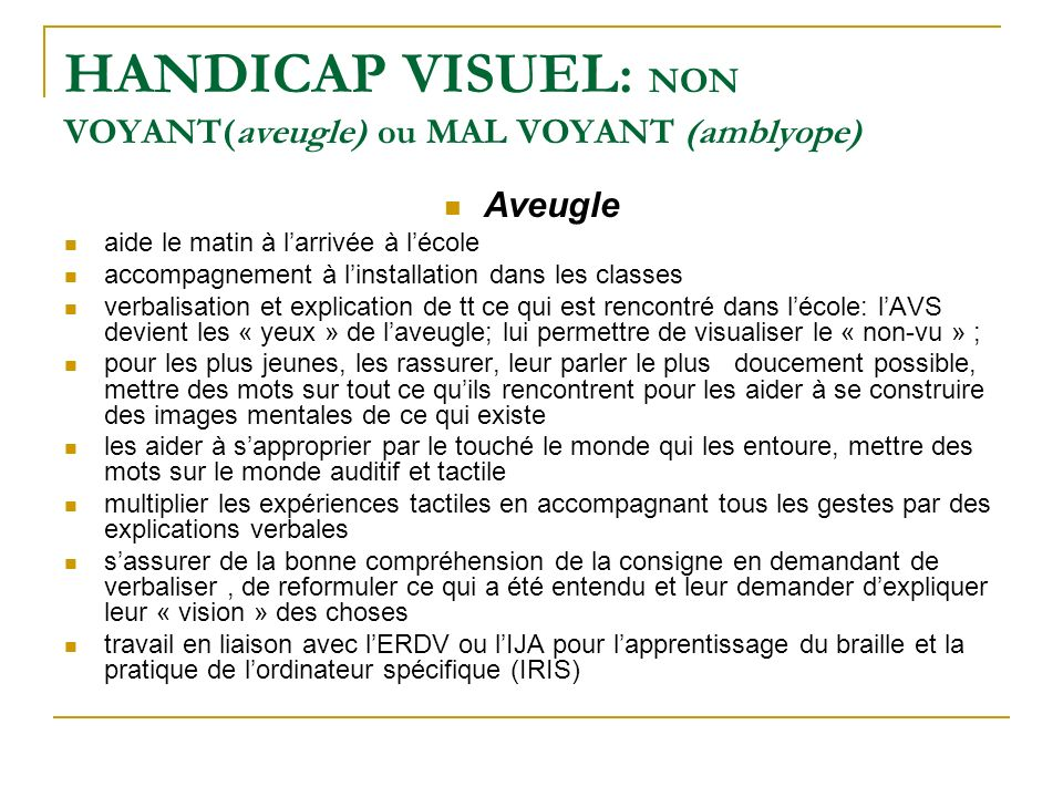 HANDICAP VISUEL: NON VOYANT(aveugle) ou MAL VOYANT (amblyope)