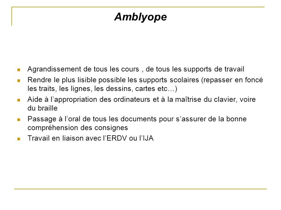 Amblyope Agrandissement de tous les cours , de tous les supports de travail.