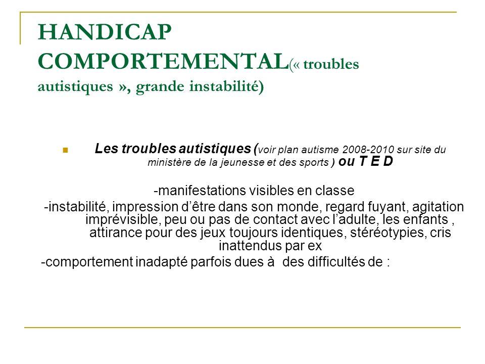HANDICAP COMPORTEMENTAL(« troubles autistiques », grande instabilité)