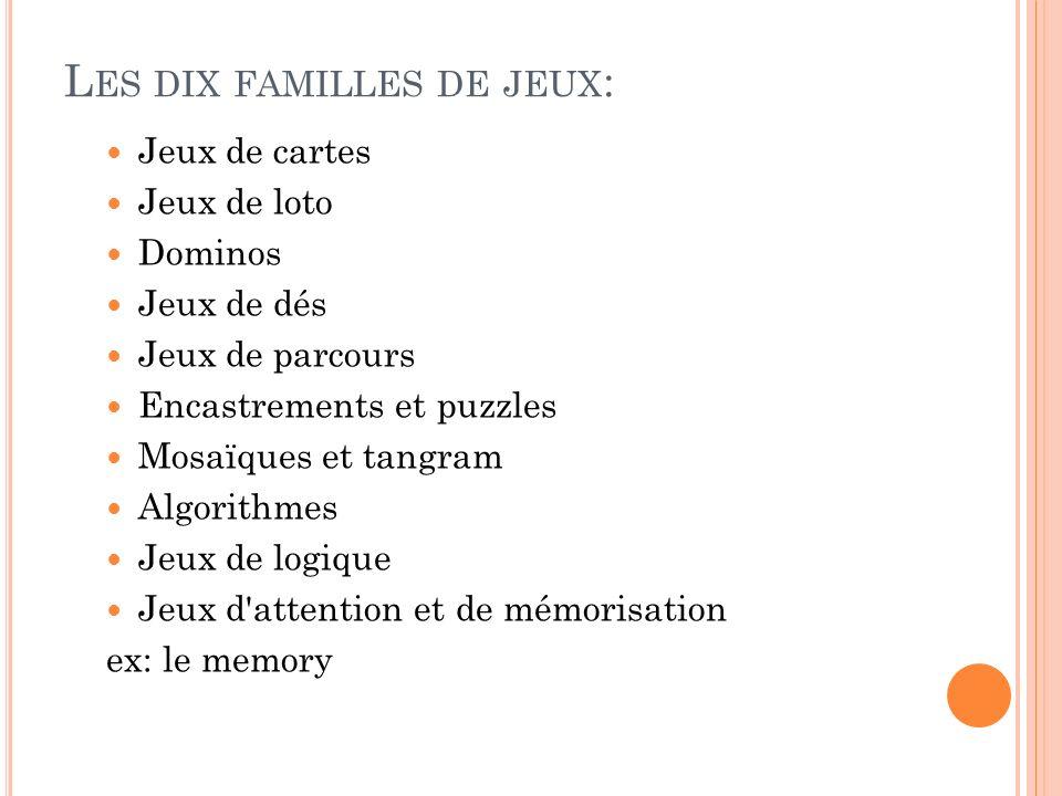 Les dix familles de jeux: