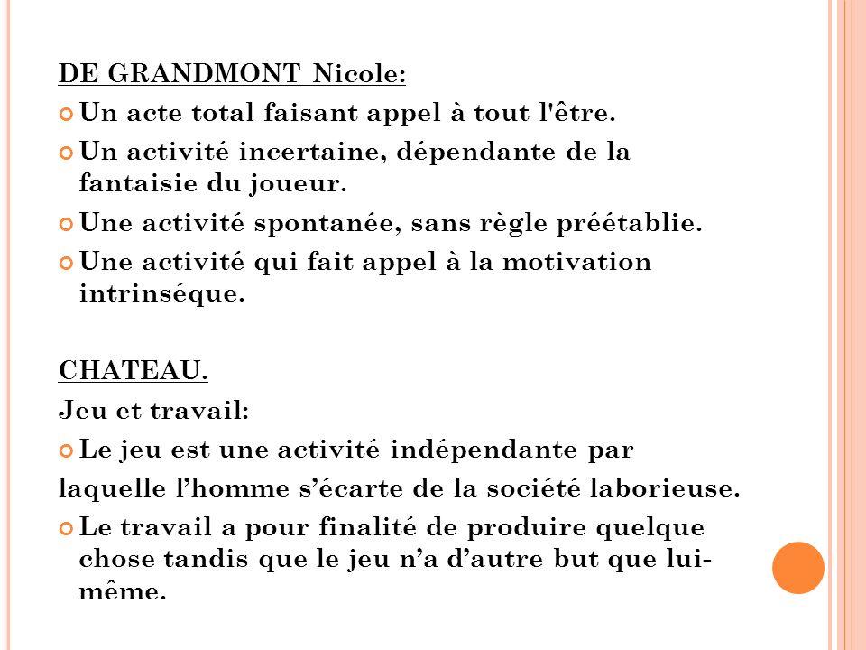 DE GRANDMONT Nicole: Un acte total faisant appel à tout l être. Un activité incertaine, dépendante de la fantaisie du joueur.