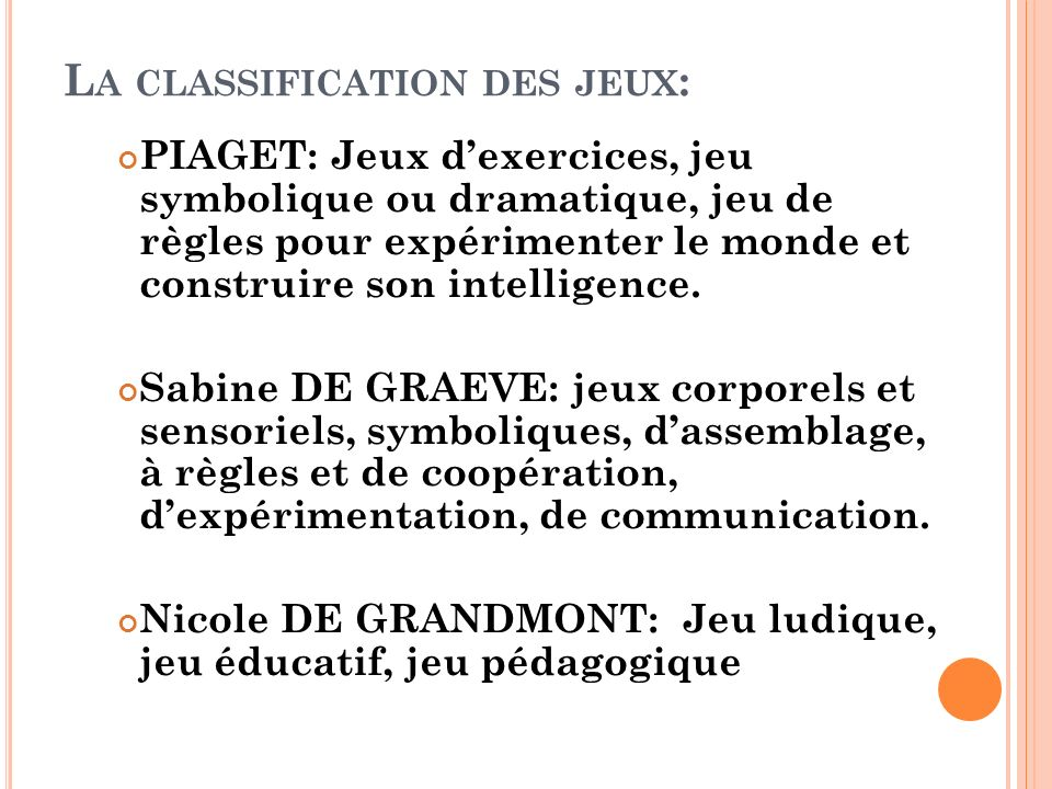 La classification des jeux: