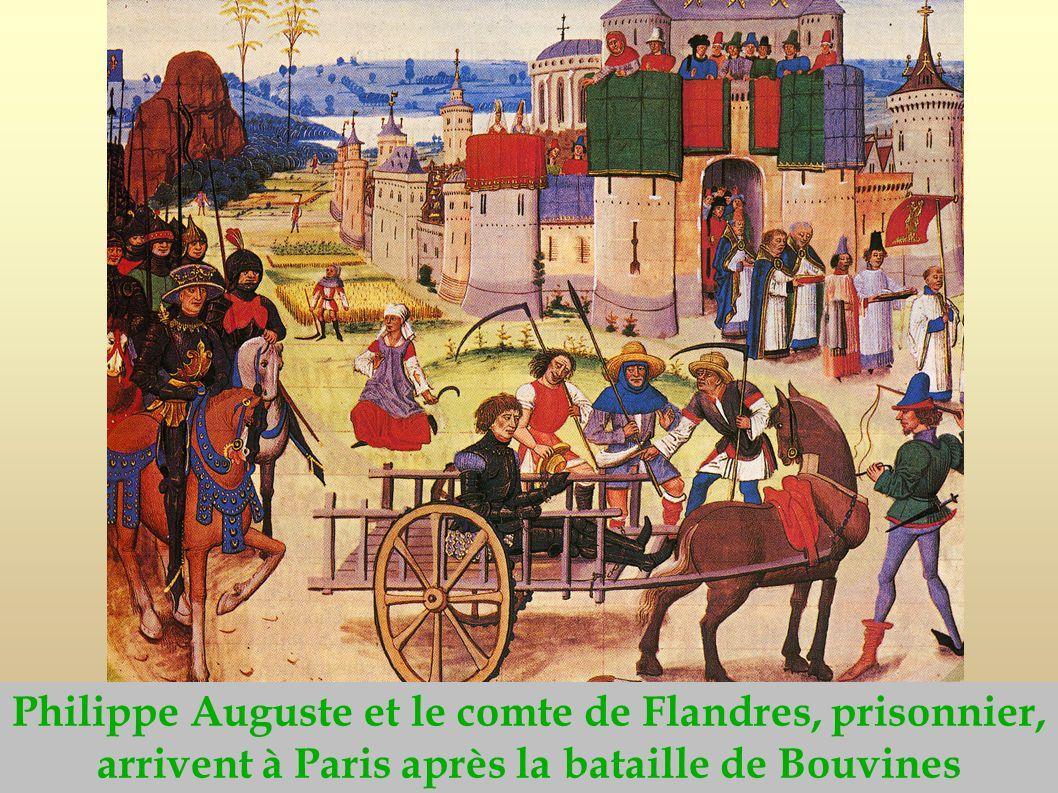 Philippe Auguste et le comte de Flandres, prisonnier, arrivent à Paris après la bataille de Bouvines