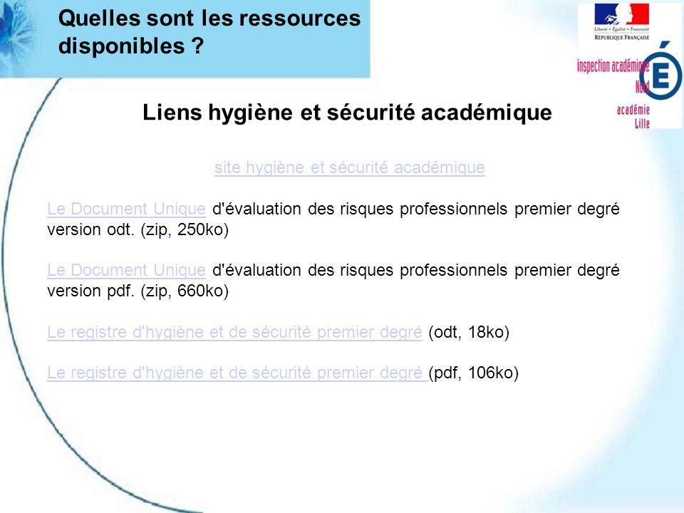 Liens hygiène et sécurité académique