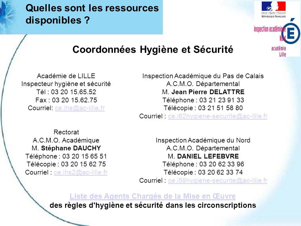 Coordonnées Hygiène et Sécurité