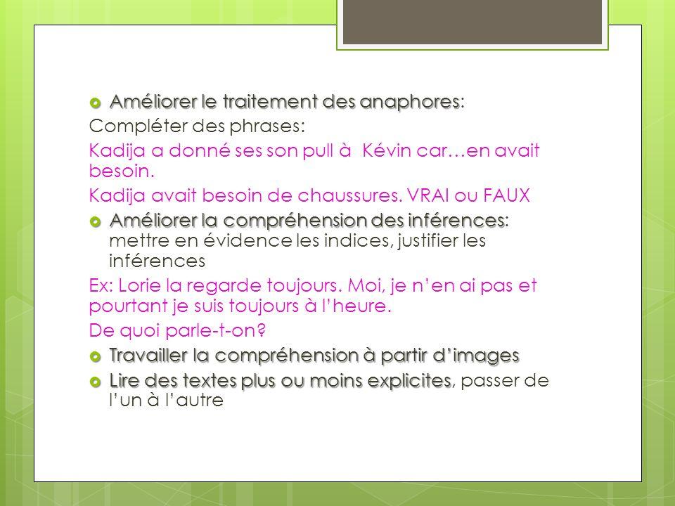 Améliorer le traitement des anaphores: