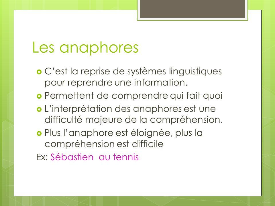 Les anaphores C'est la reprise de systèmes linguistiques pour reprendre une information. Permettent de comprendre qui fait quoi.