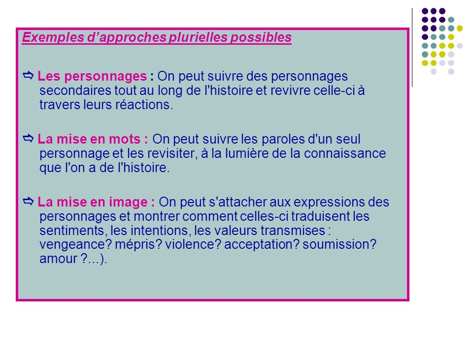 Exemples d'approches plurielles possibles