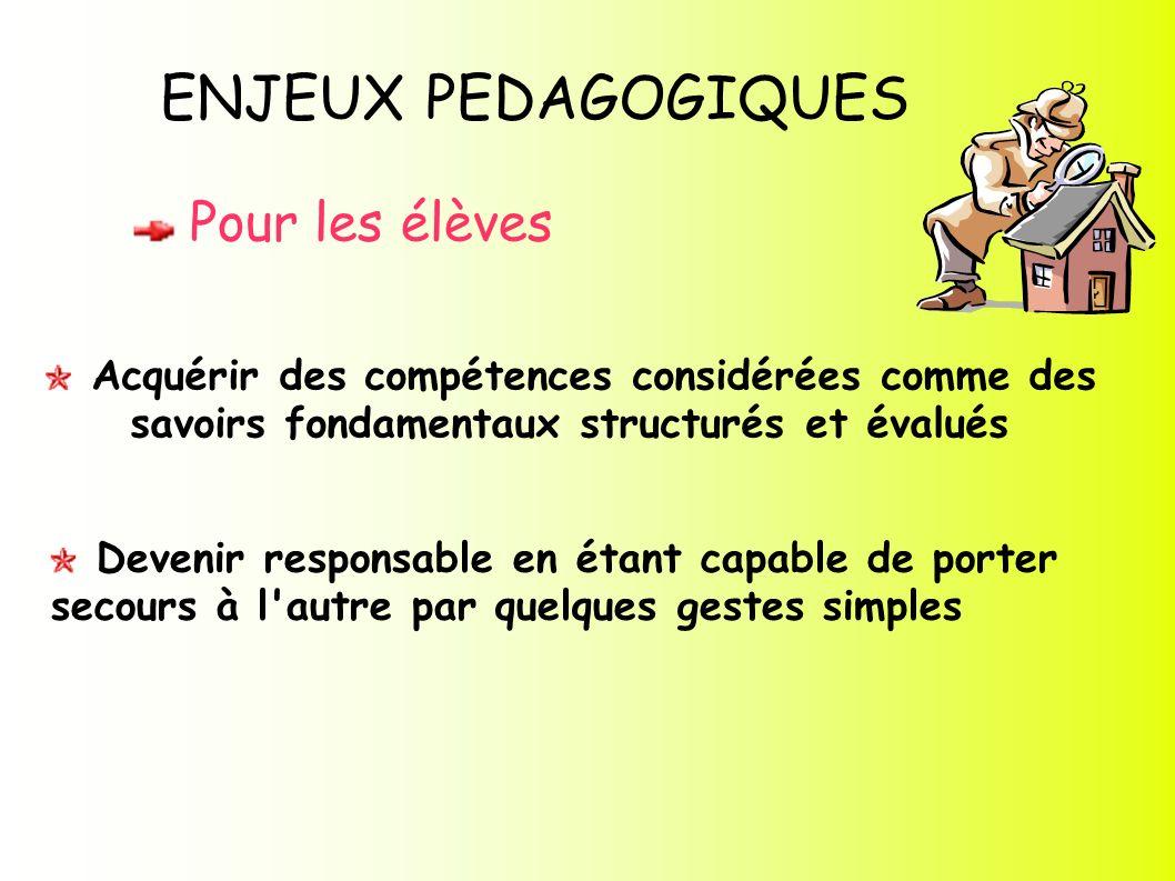 ENJEUX PEDAGOGIQUES Pour les élèves