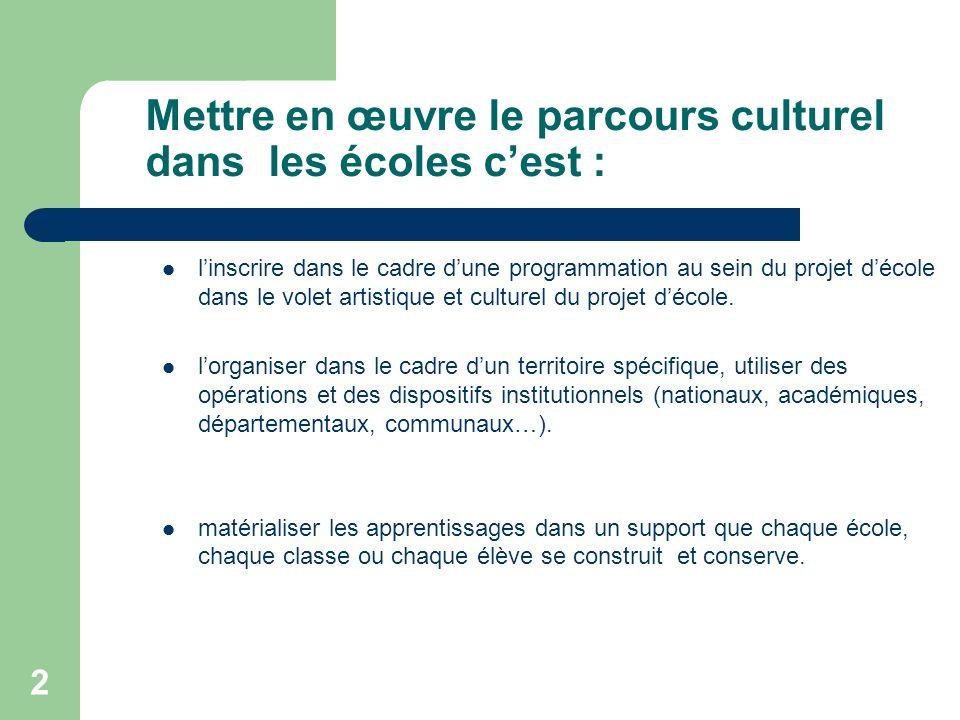 Mettre en œuvre le parcours culturel dans les écoles c'est :