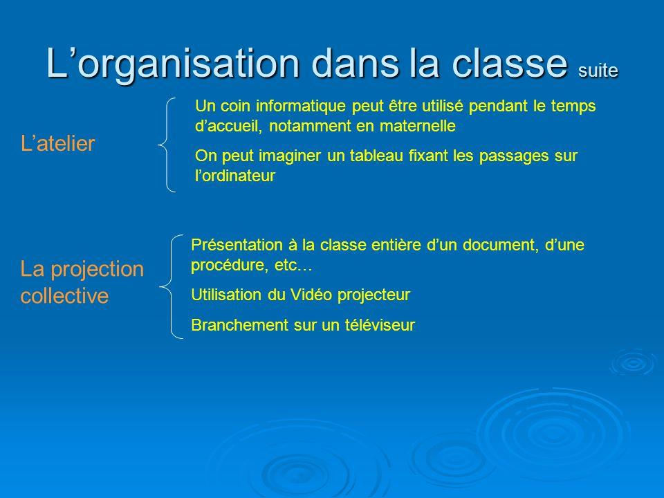 L'organisation dans la classe suite