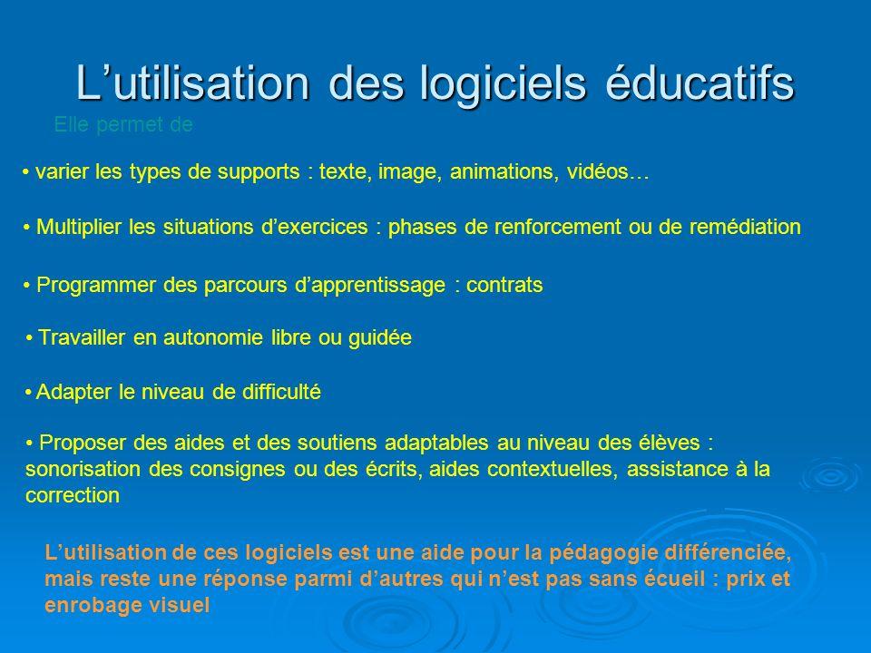 L'utilisation des logiciels éducatifs