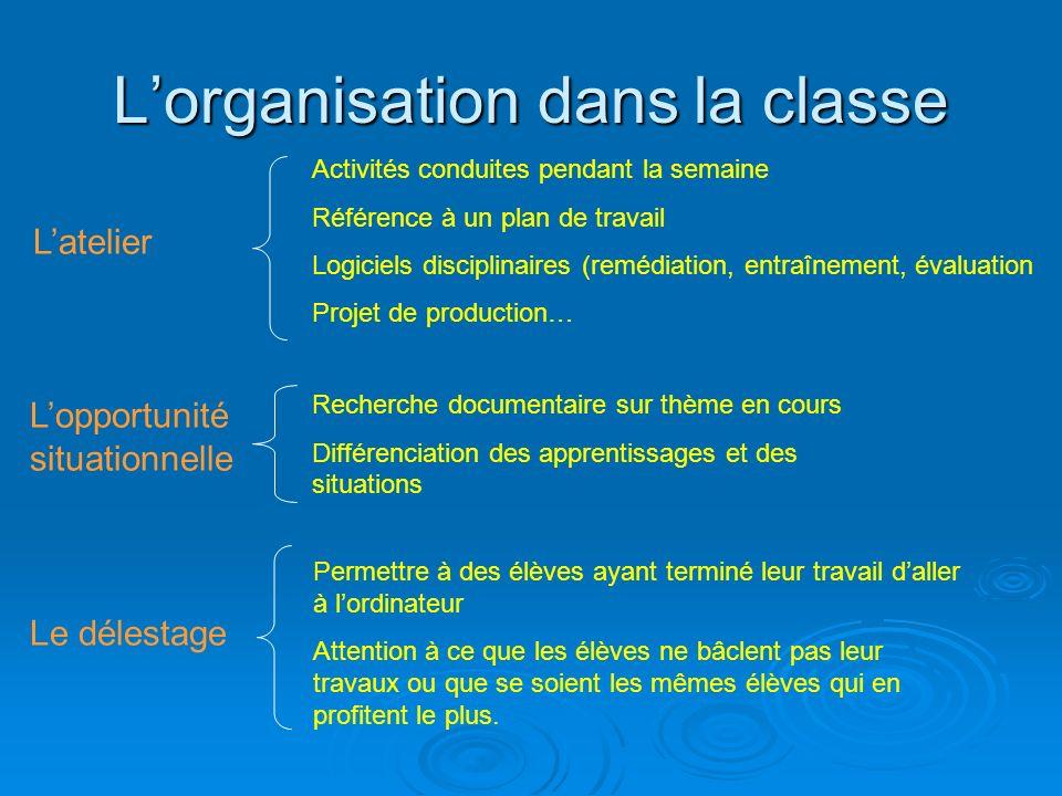 L'organisation dans la classe