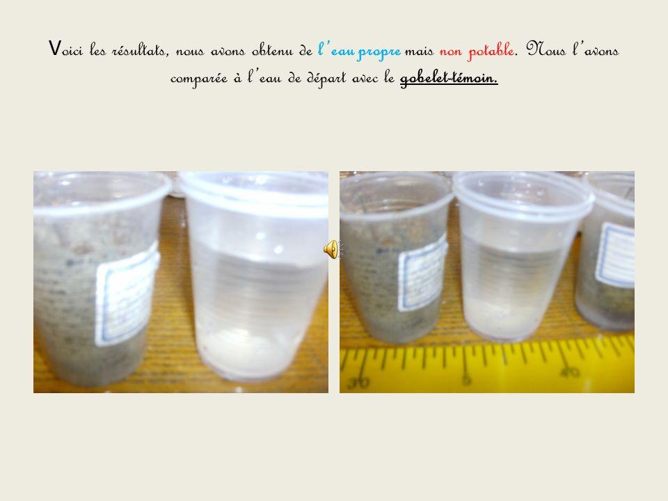 Voici les résultats, nous avons obtenu de l'eau propre mais non potable.