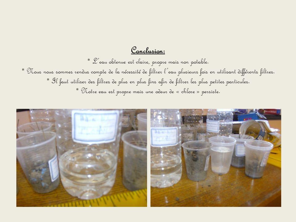 Conclusion:. L'eau obtenue est claire, propre mais non potable