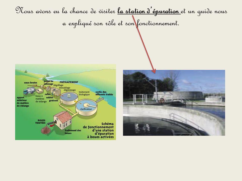 Nous avons eu la chance de visiter la station d'épuration et un guide nous a expliqué son rôle et son fonctionnement.