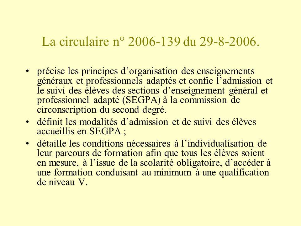 La circulaire n° 2006-139 du 29-8-2006.