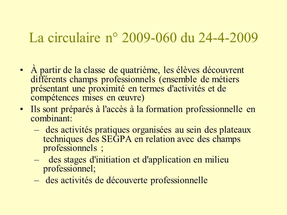 La circulaire n° 2009-060 du 24-4-2009