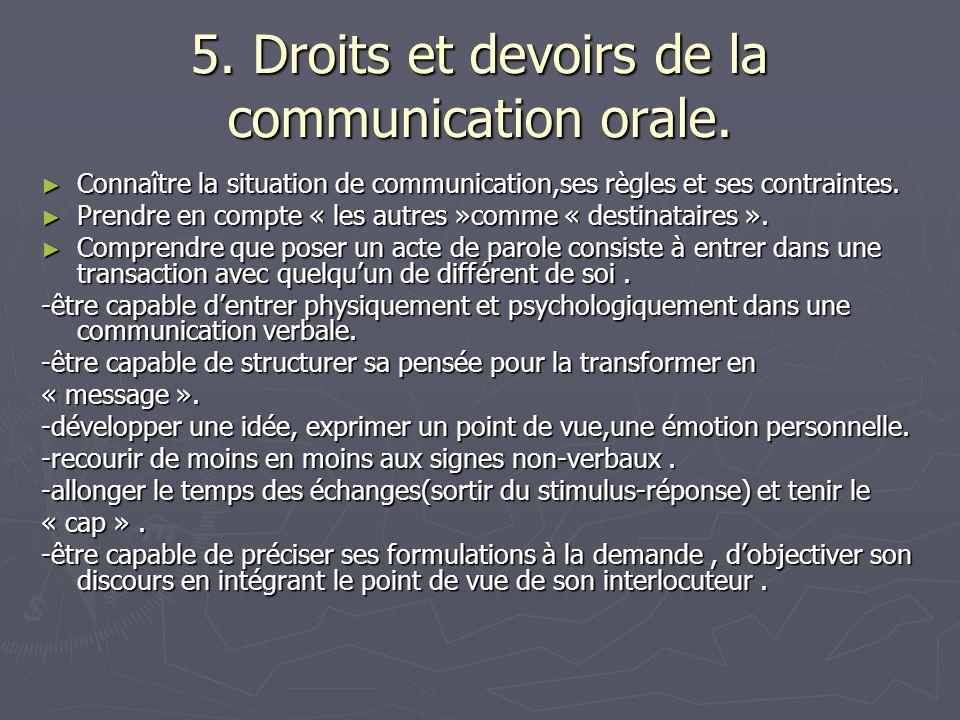 5. Droits et devoirs de la communication orale.