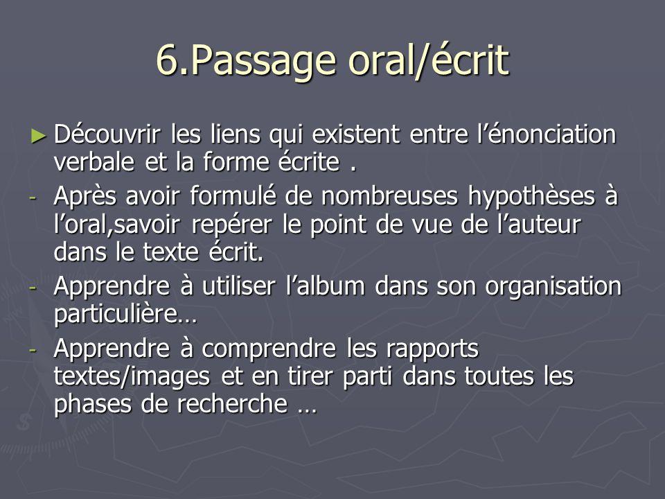 6.Passage oral/écrit Découvrir les liens qui existent entre l'énonciation verbale et la forme écrite .